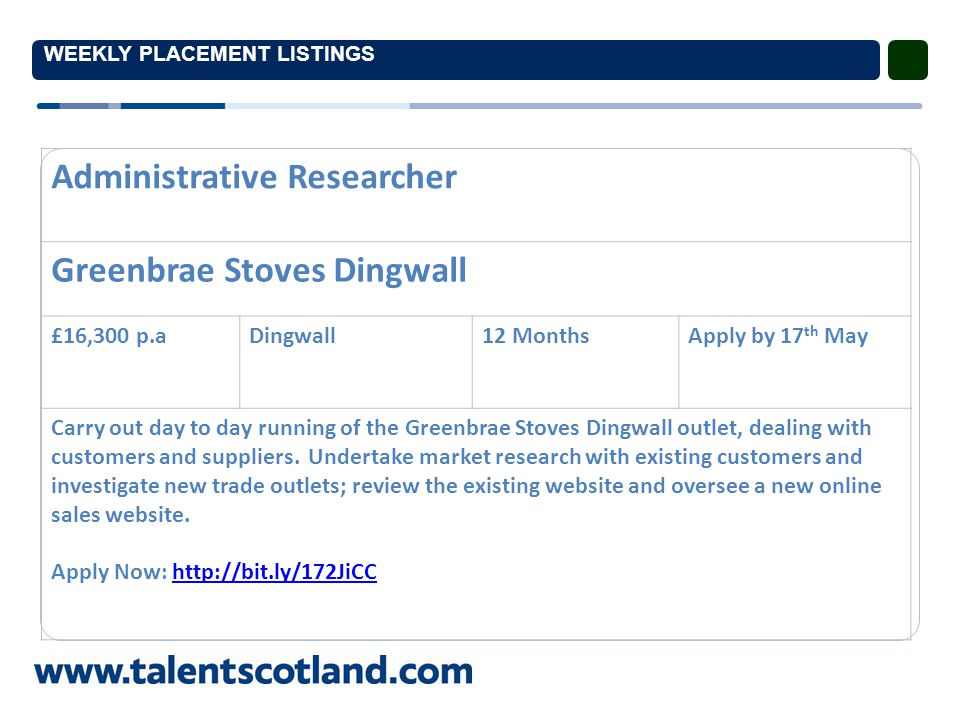 WEEKLY PLACEMENT LISTINGS Administrative Researcher Greenbrae Stoves Dingwall £16,300 p.aDingwall12 MonthsApply by 17 th May Carry out day to day running of the Greenbrae Stoves Dingwall outlet, dealing with customers and suppliers.
