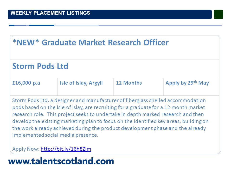 WEEKLY PLACEMENT LISTINGS *NEW* Graduate Hot Glass Studio Assistant GLASSTORM £16,000 p.a.Tain, Highland12 Months with potential for continued employment Apply by 30 th May GLASSTORM Ltd, a specialist company creating a variety of bespoke works in glass are recruiting for a hot glass experienced graduate to assist in the making of glassworks.