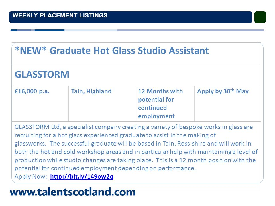 WEEKLY PLACEMENT LISTINGS *NEW* Graduate Finance Officer MSIS Group £16,000 - £10,000 p.a.