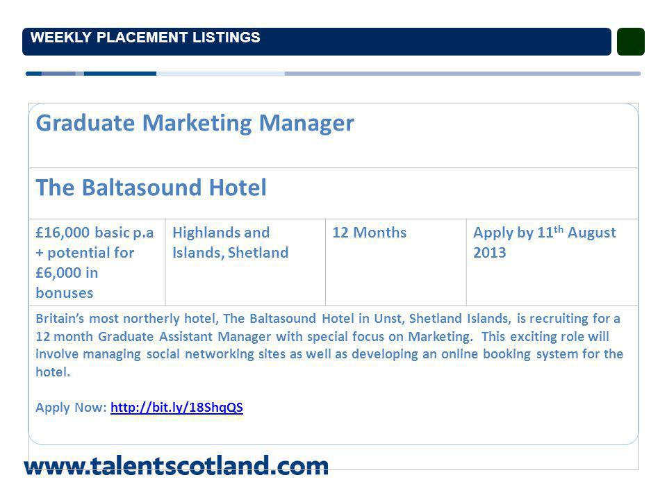 WEEKLY PLACEMENT LISTINGS Graduate Marketing Manager The Baltasound Hotel £16,000 basic p.a + potential for £6,000 in bonuses Highlands and Islands, Shetland 12 MonthsApply by 11 th August 2013 Britain's most northerly hotel, The Baltasound Hotel in Unst, Shetland Islands, is recruiting for a 12 month Graduate Assistant Manager with special focus on Marketing.