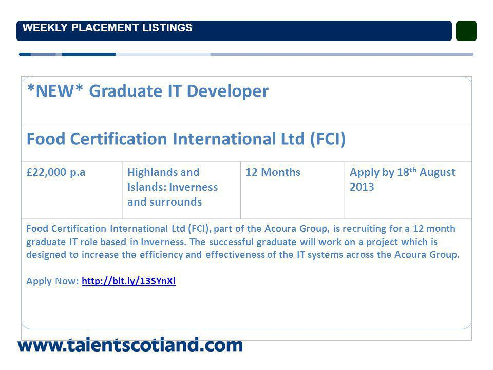 WEEKLY PLACEMENT LISTINGS *NEW* Graduate IT Developer Food Certification International Ltd (FCI) £22,000 p.aHighlands and Islands: Inverness and surrounds 12 MonthsApply by 18 th August 2013 Food Certification International Ltd (FCI), part of the Acoura Group, is recruiting for a 12 month graduate IT role based in Inverness.