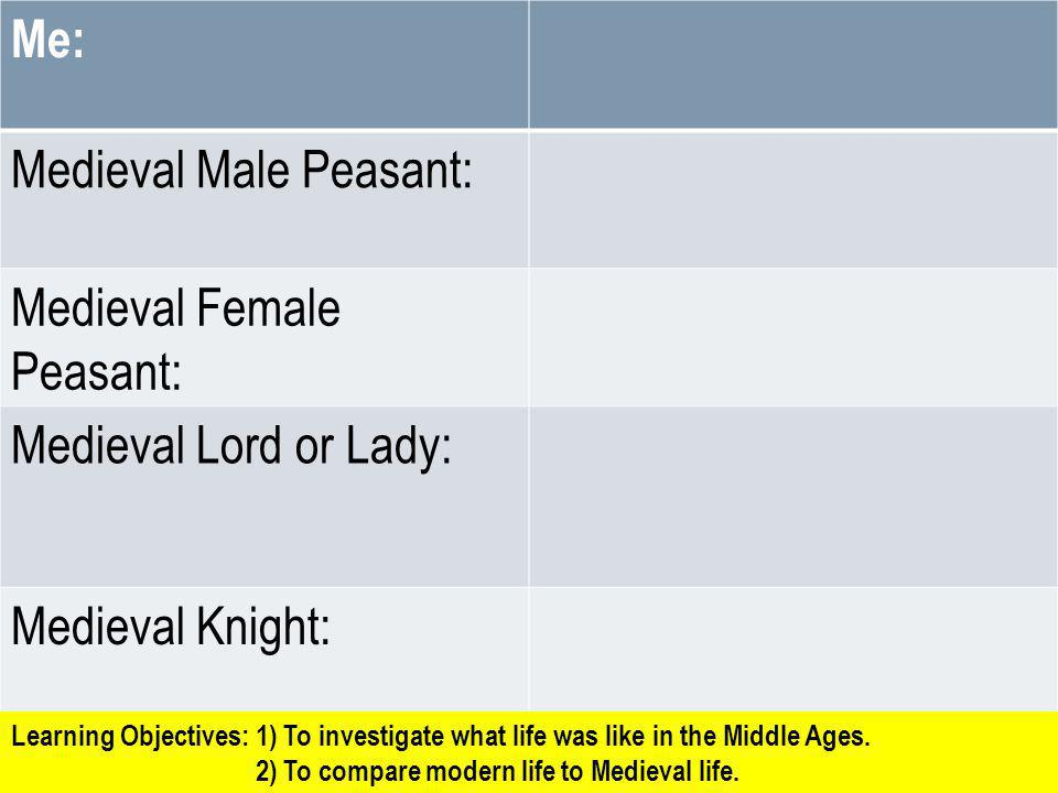 Me: Medieval Male Peasant: Medieval Female Peasant: Medieval Lord or Lady: Medieval Knight: Learning Objectives: 1) To investigate what life was like
