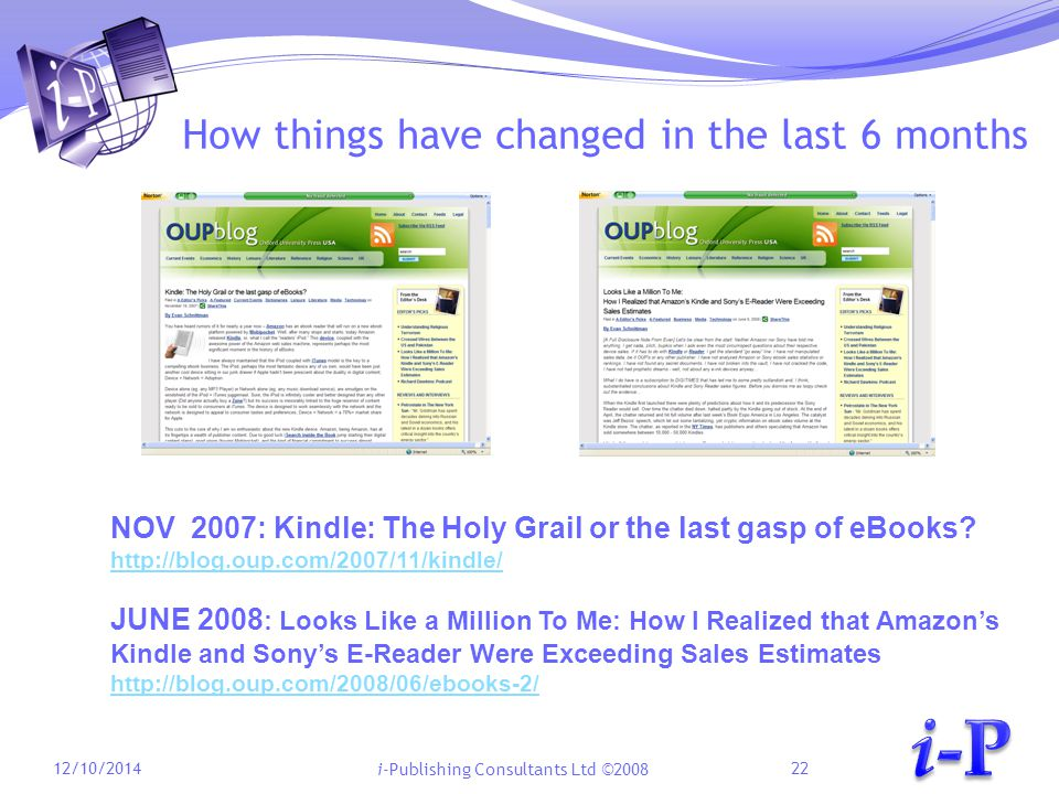 i-Publishing Consultants Ltd ©2008 How things have changed in the last 6 months 12/10/201422 NOV 2007: Kindle: The Holy Grail or the last gasp of eBooks.