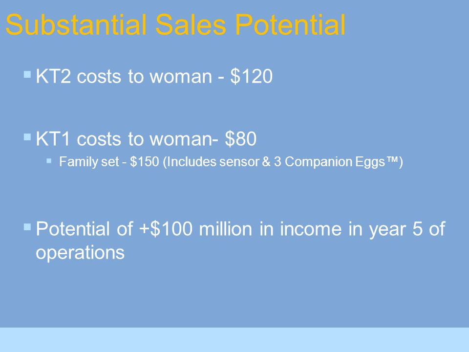Substantial Sales Potential  KT2 costs to woman - $120  KT1 costs to woman- $80  Family set - $150 (Includes sensor & 3 Companion Eggs™)  Potential of +$100 million in income in year 5 of operations