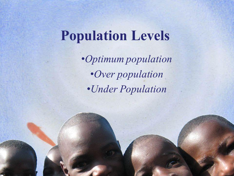 Population Levels Optimum population Over population Under Population www.i-study.co.uk