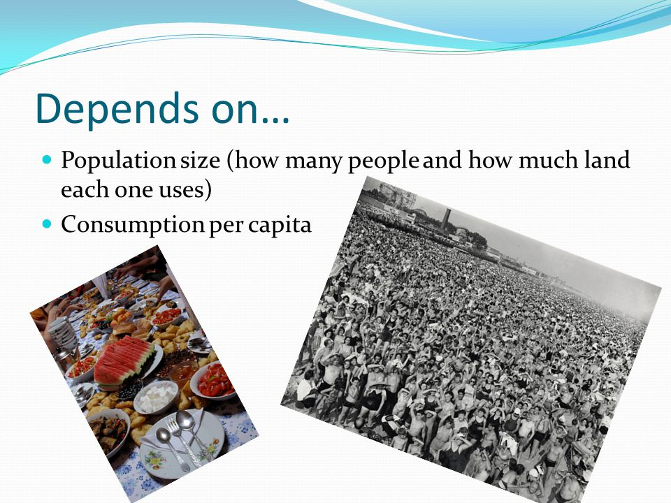 Depends on… Population size (how many people and how much land each one uses) Consumption per capita
