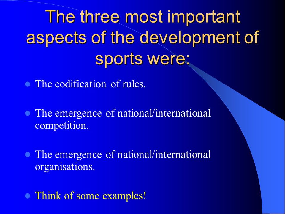 Codification This is the systematic definition of rules for conduct of sport.