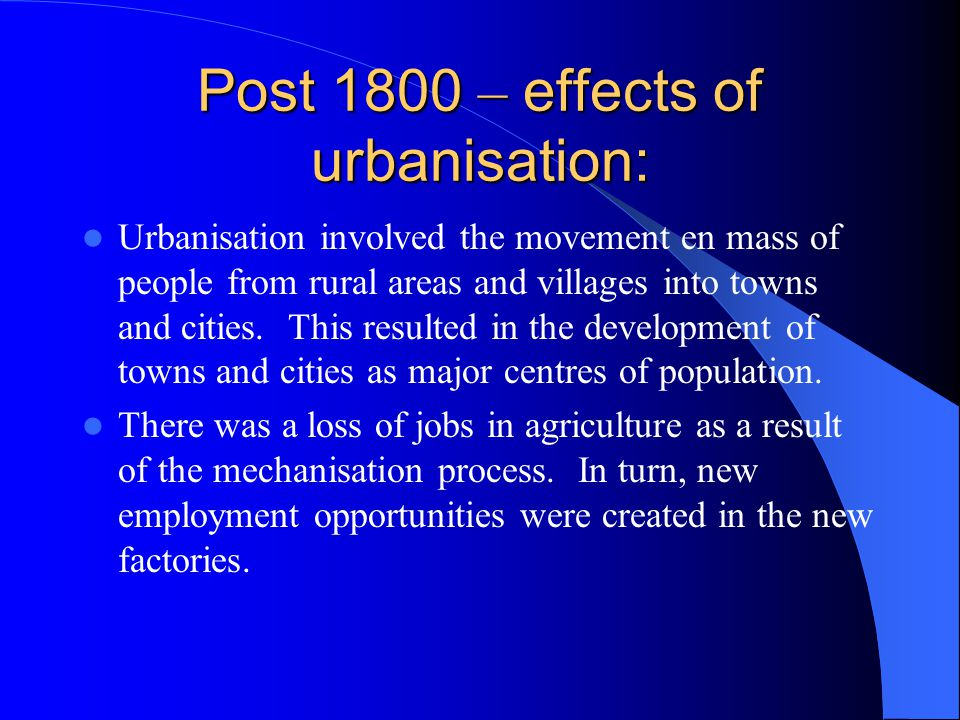 The effects of urbanisation on sport: Decline in land available for sport to be played.