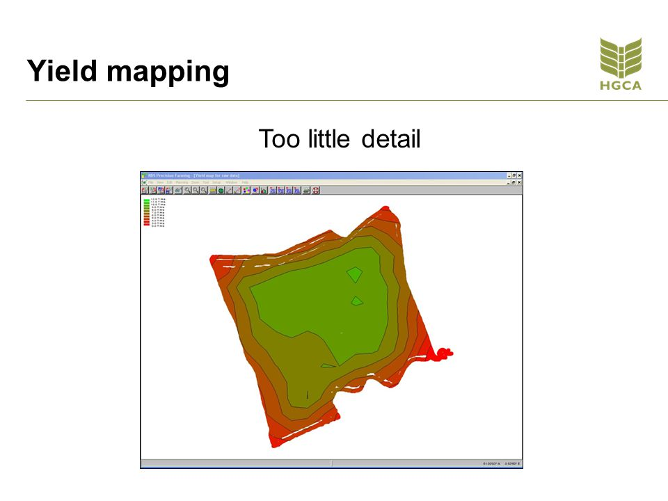 Yield mapping Too little detail