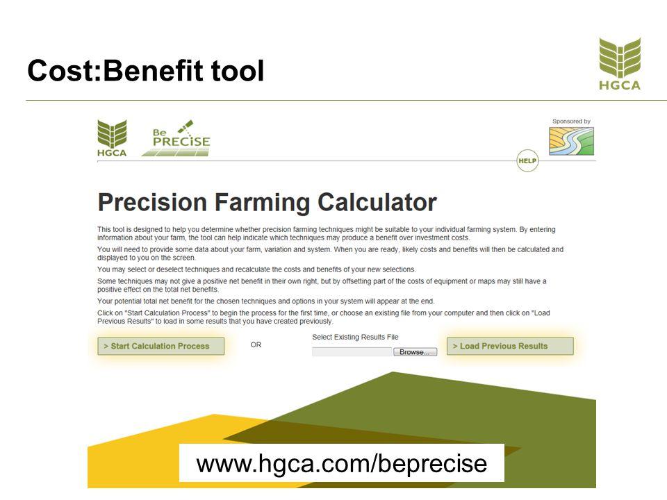 Cost:Benefit tool www.hgca.com/beprecise