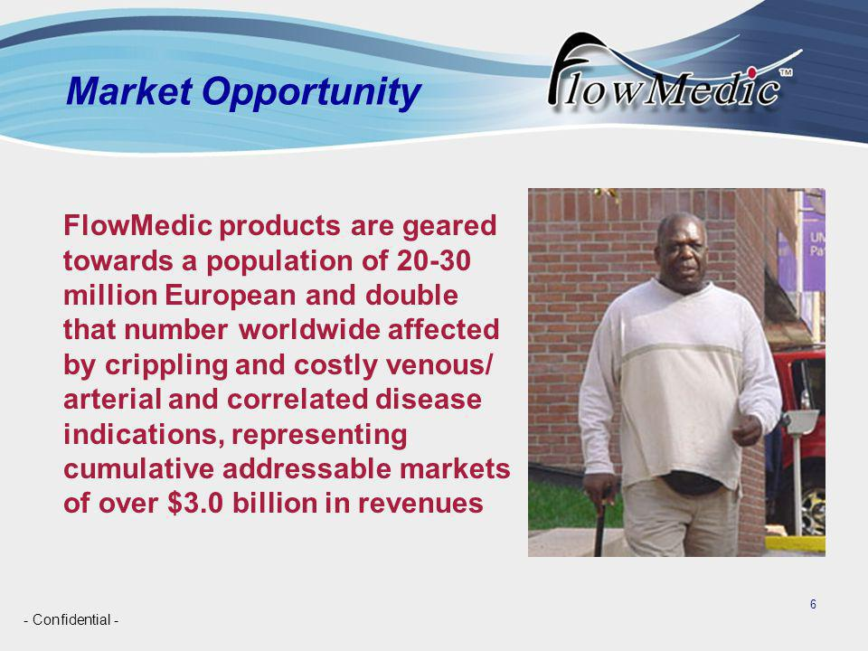 - Confidential - 6 Market Opportunity FlowMedic products are geared towards a population of 20-30 million European and double that number worldwide affected by crippling and costly venous/ arterial and correlated disease indications, representing cumulative addressable markets of over $3.0 billion in revenues