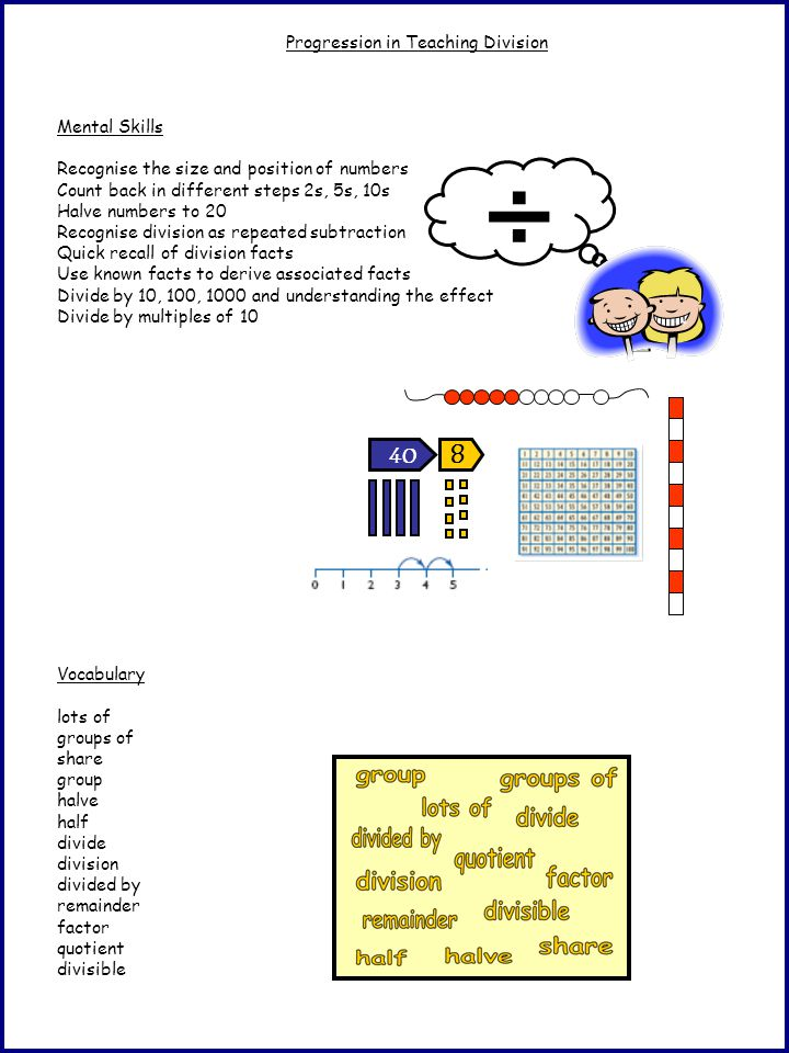 Progression in Teaching Division Mental Skills Recognise the size and position of numbers Count back in different steps 2s, 5s, 10s Halve numbers to 2