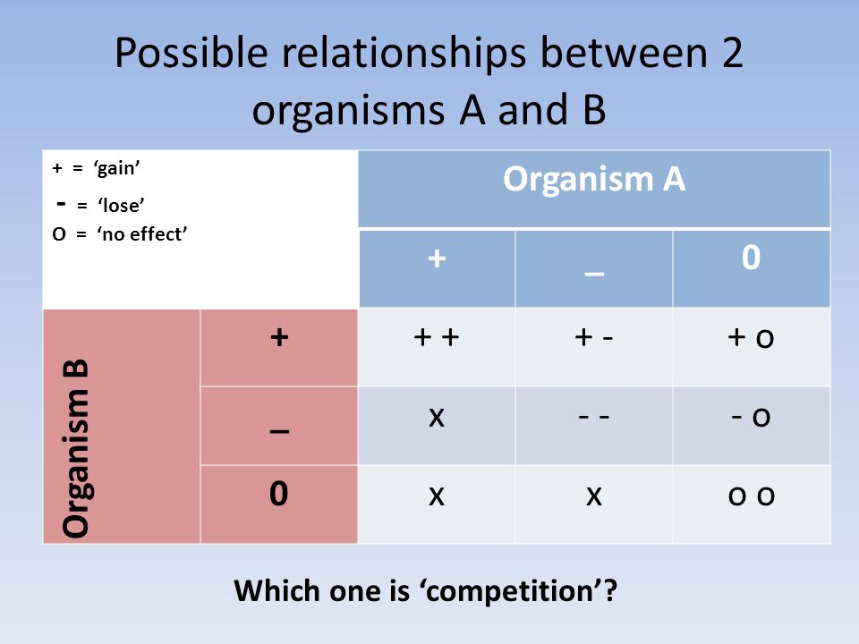 Possible relationships between 2 organisms A and B + = 'gain' - = 'lose' O = 'no effect' Organism A +_0 Organism B ++ + -+ o _x- - o 0xxo oo o Which one is 'competition'