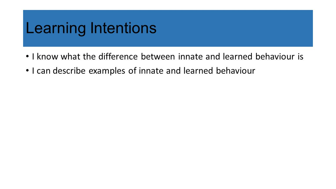 Learning Intentions I know what the difference between innate and learned behaviour is I can describe examples of innate and learned behaviour