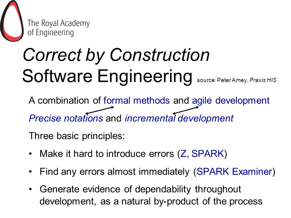 Correct by Construction Software Engineering source: Peter Amey, Praxis HIS A combination of formal methods and agile development Precise notations and incremental development Three basic principles: Make it hard to introduce errors (Z, SPARK) Find any errors almost immediately (SPARK Examiner) Generate evidence of dependability throughout development, as a natural by-product of the process