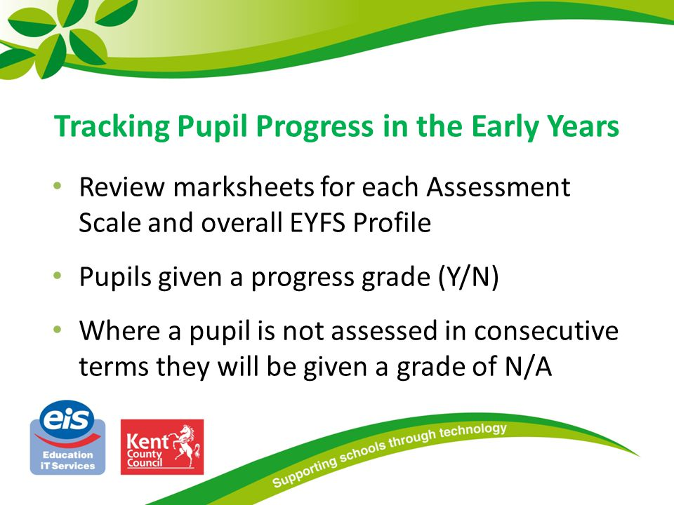 Review marksheets for each Assessment Scale and overall EYFS Profile Pupils given a progress grade (Y/N) Where a pupil is not assessed in consecutive terms they will be given a grade of N/A Tracking Pupil Progress in the Early Years