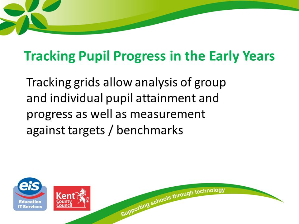 Tracking grids allow analysis of group and individual pupil attainment and progress as well as measurement against targets / benchmarks Tracking Pupil Progress in the Early Years