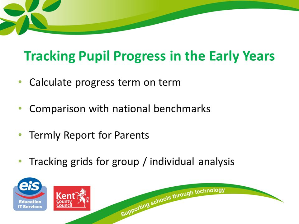 Calculate progress term on term Comparison with national benchmarks Termly Report for Parents Tracking grids for group / individual analysis