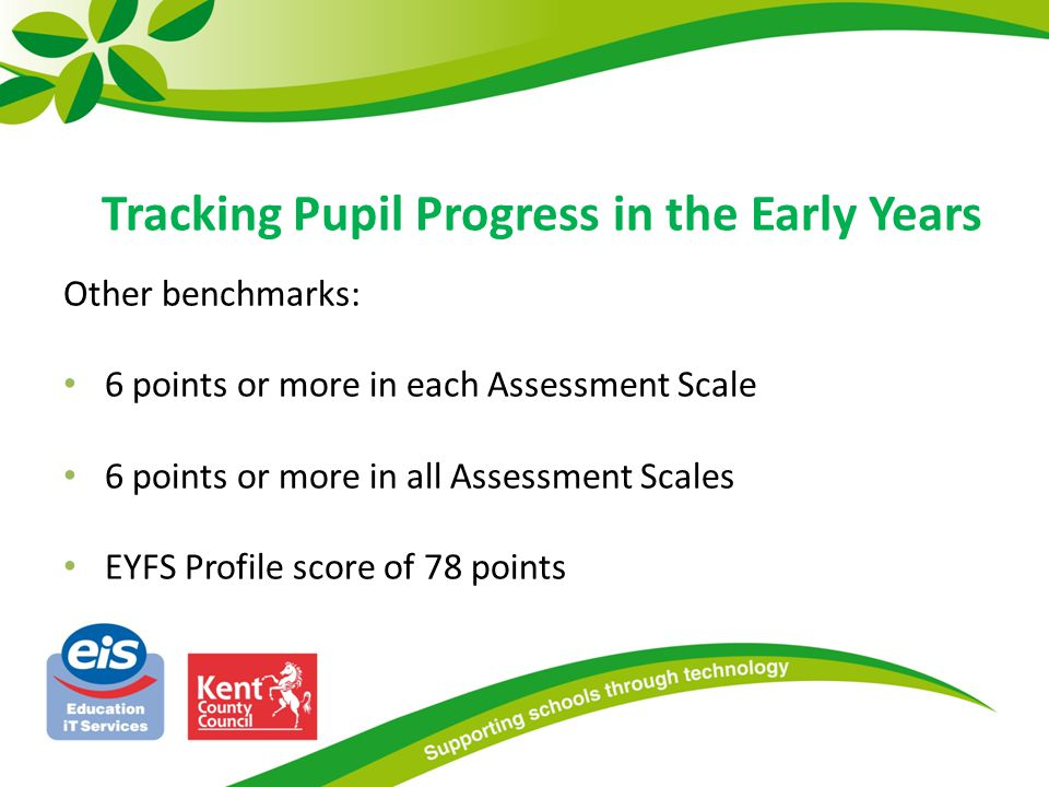 Other benchmarks: 6 points or more in each Assessment Scale 6 points or more in all Assessment Scales EYFS Profile score of 78 points Attainment can be measured against other benchmarks: Tracking Pupil Progress in the Early Years