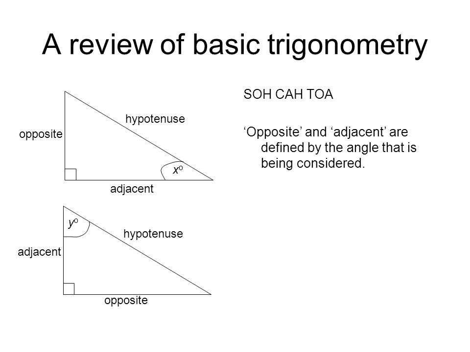 A review of basic trigonometry SOH CAH TOA 'Opposite' and 'adjacent' are defined by the angle that is being considered.