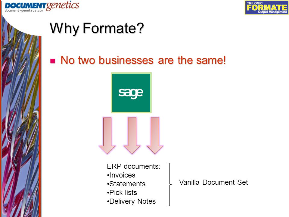 Output Management Why Formate. No two businesses are the same.