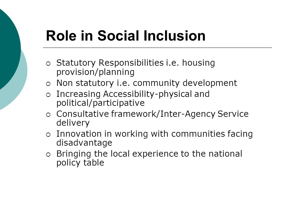 Role in Social Inclusion  Statutory Responsibilities i.e.