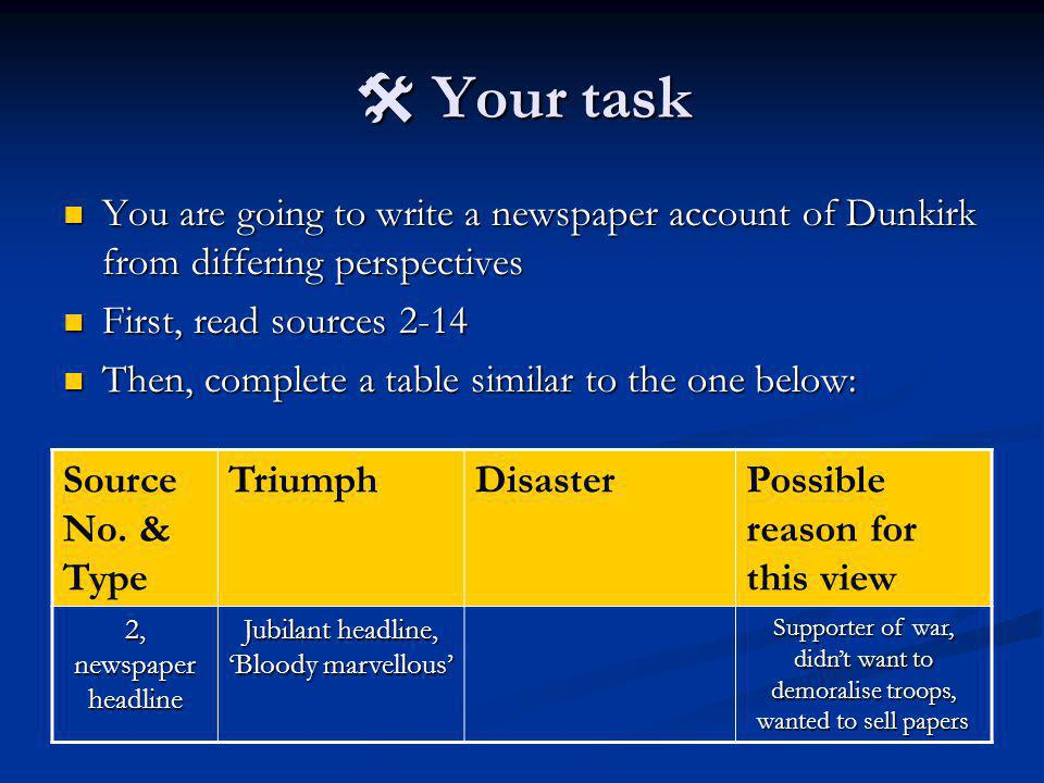 Your task You are going to write a newspaper account of Dunkirk from differing perspectives You are going to write a newspaper account of Dunkirk from differing perspectives First, read sources 2-14 First, read sources 2-14 Then, complete a table similar to the one below: Then, complete a table similar to the one below: Source No.
