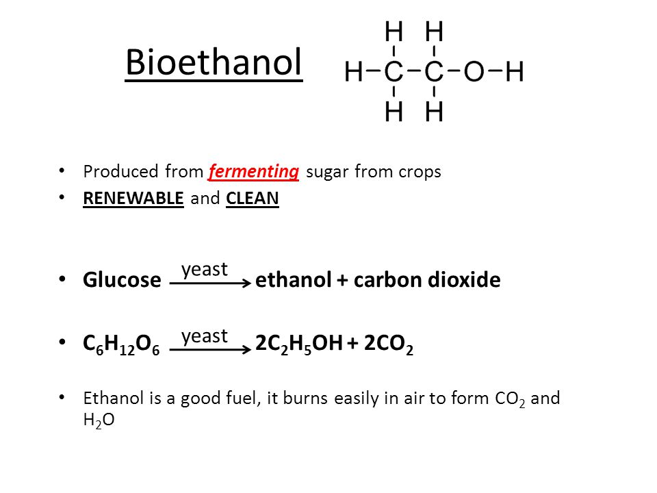 Non Renewable Ethanol Ethene + steam Ethanol + hydrogen  Ethene comes from CRACKING crude oil products (Remember oil is heated to 800°C with a CATALYST – long chain ALKANE broken down to smaller alkene + alkane)  Ethanol produced chemically from crude oil is still cleaner as a fuel but it is NON RENEWABLE catalyst High pressure