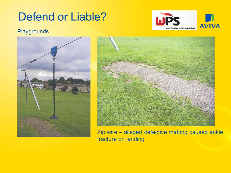 Defend or Liable Playgrounds Zip wire – alleged defective matting caused ankle fracture on landing