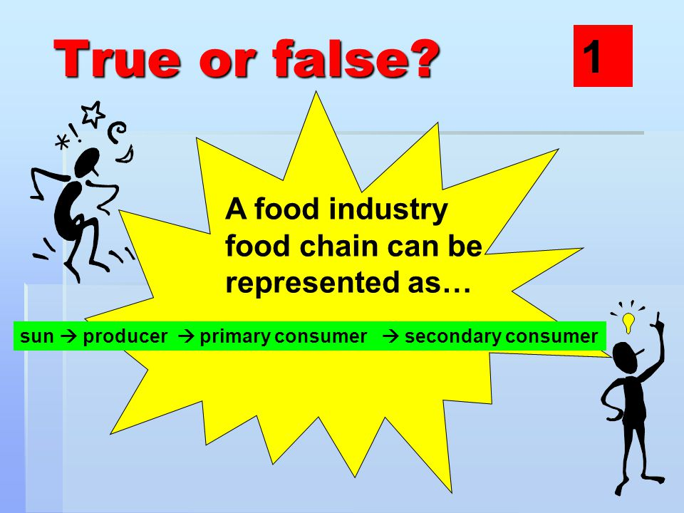True or false? A food industry food chain can be represented as… sun  producer  primary consumer  secondary consumer 1
