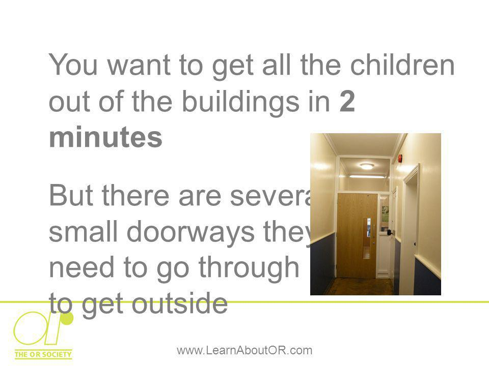 www.LearnAboutOR.com You want to get all the children out of the buildings in 2 minutes But there are several small doorways they need to go through to get outside