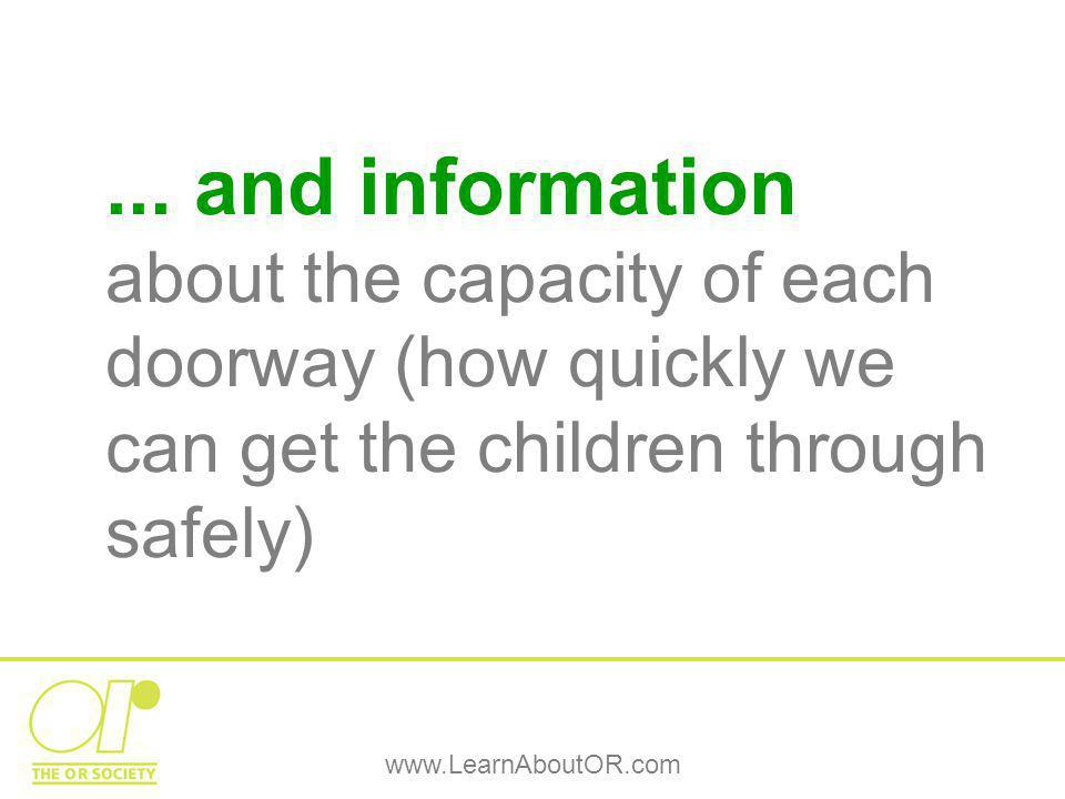 www.LearnAboutOR.com... and information about the capacity of each doorway (how quickly we can get the children through safely)