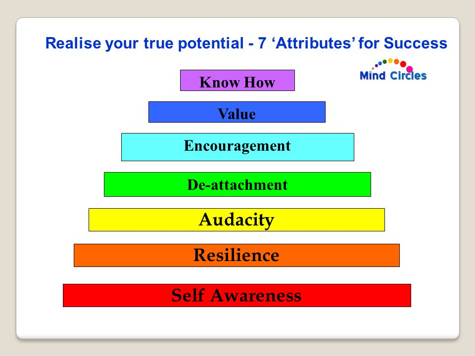 Know How Value Encouragement De-attachment Audacity Resilience Self Awareness Realise your true potential - 7 'Attributes' for Success