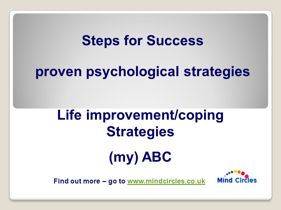 Life improvement/coping Strategies (my) ABC Steps for Success proven psychological strategies Find out more – go to www.mindcircles.co.ukwww.mindcircles.co.uk