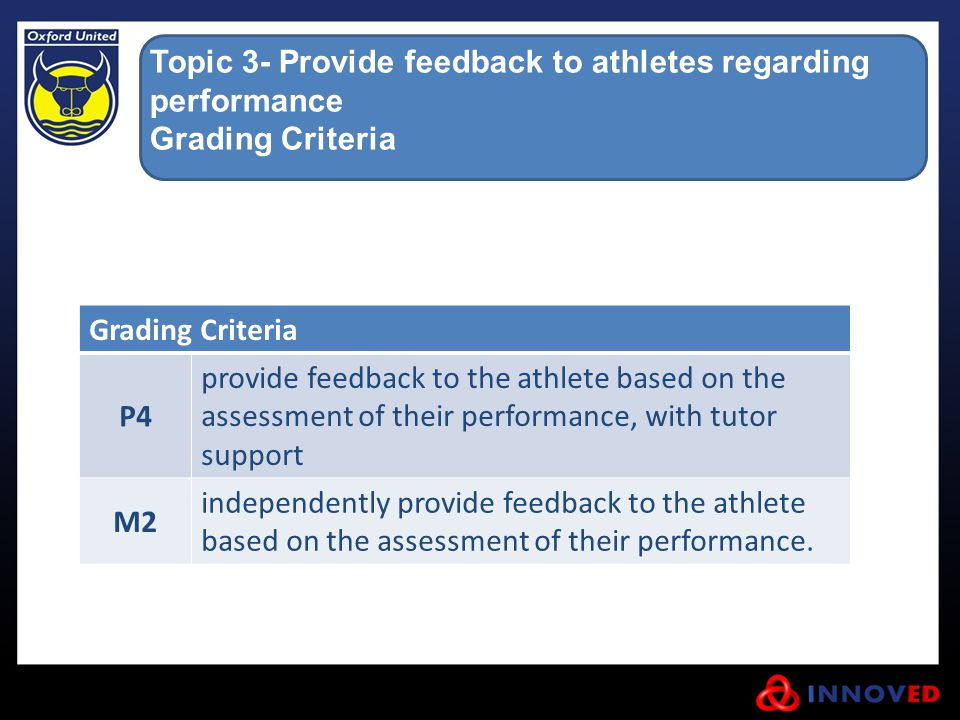Topic 3- Provide feedback to athletes regarding performance Grading Criteria P4 provide feedback to the athlete based on the assessment of their perfo
