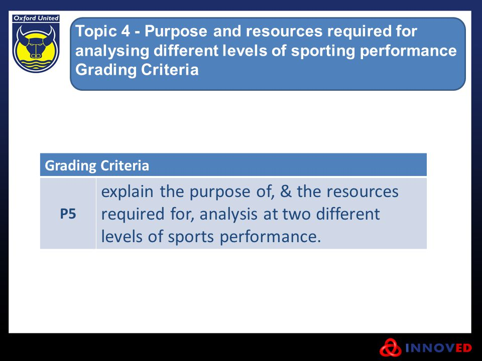 Topic 4 - Purpose and resources required for analysing different levels of sporting performance Grading Criteria P5 explain the purpose of, & the reso