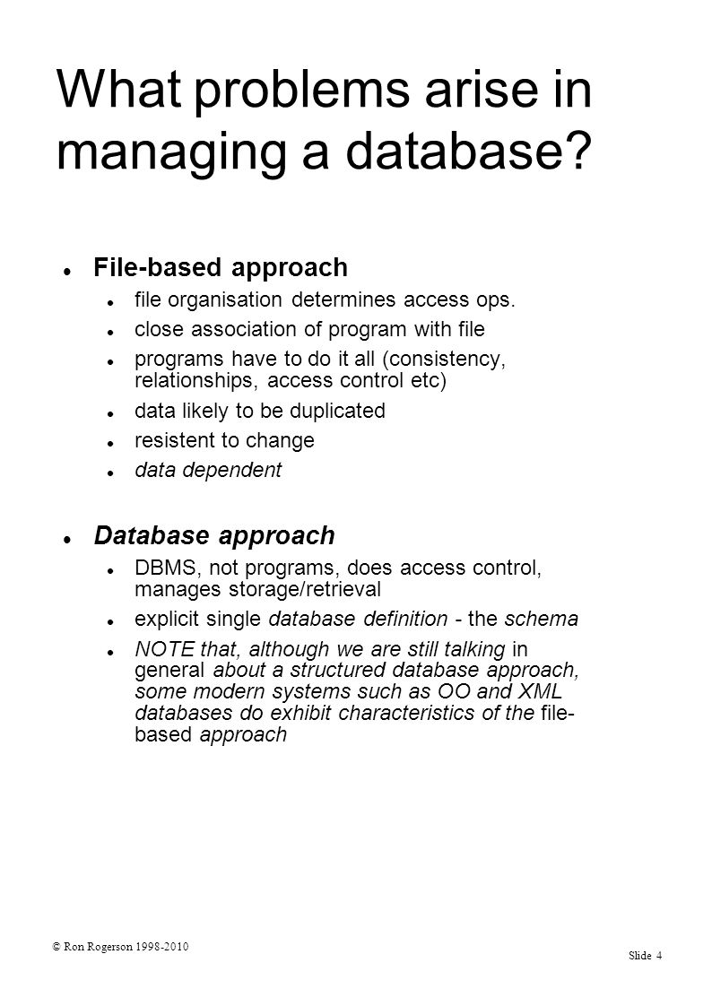 © Ron Rogerson 1998-2010 Slide 55 Bringing it together - developing a relational d/b with SQL (4) Database design The final system may not be a direct implementation of the model.