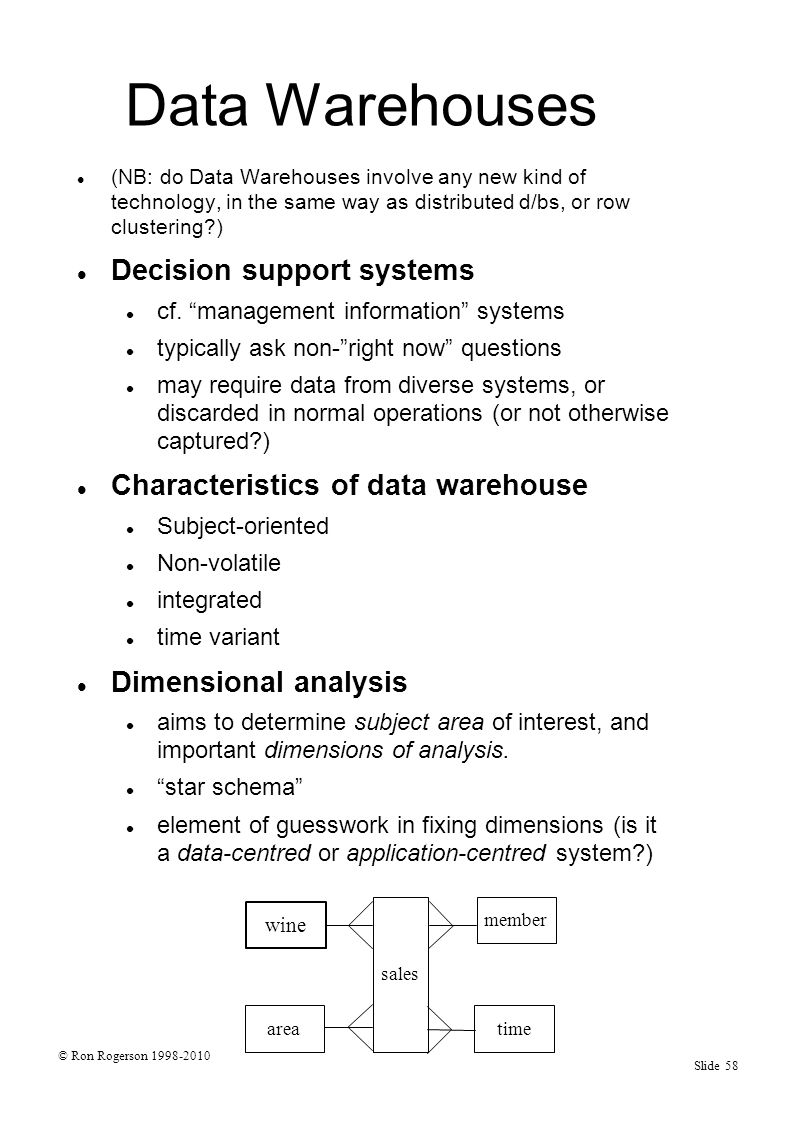 © Ron Rogerson 1998-2010 Slide 58 Data Warehouses (NB: do Data Warehouses involve any new kind of technology, in the same way as distributed d/bs, or row clustering ) Decision support systems cf.
