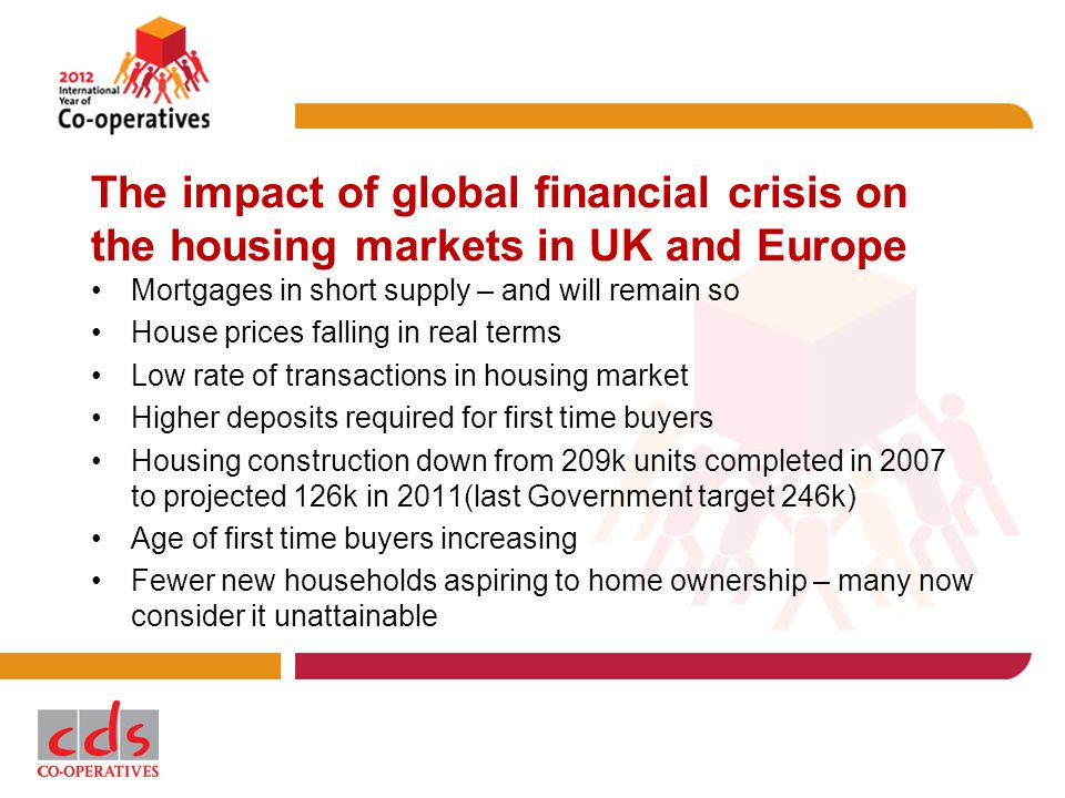The impact of global financial crisis on the housing markets in UK and Europe Mortgages in short supply – and will remain so House prices falling in real terms Low rate of transactions in housing market Higher deposits required for first time buyers Housing construction down from 209k units completed in 2007 to projected 126k in 2011(last Government target 246k) Age of first time buyers increasing Fewer new households aspiring to home ownership – many now consider it unattainable
