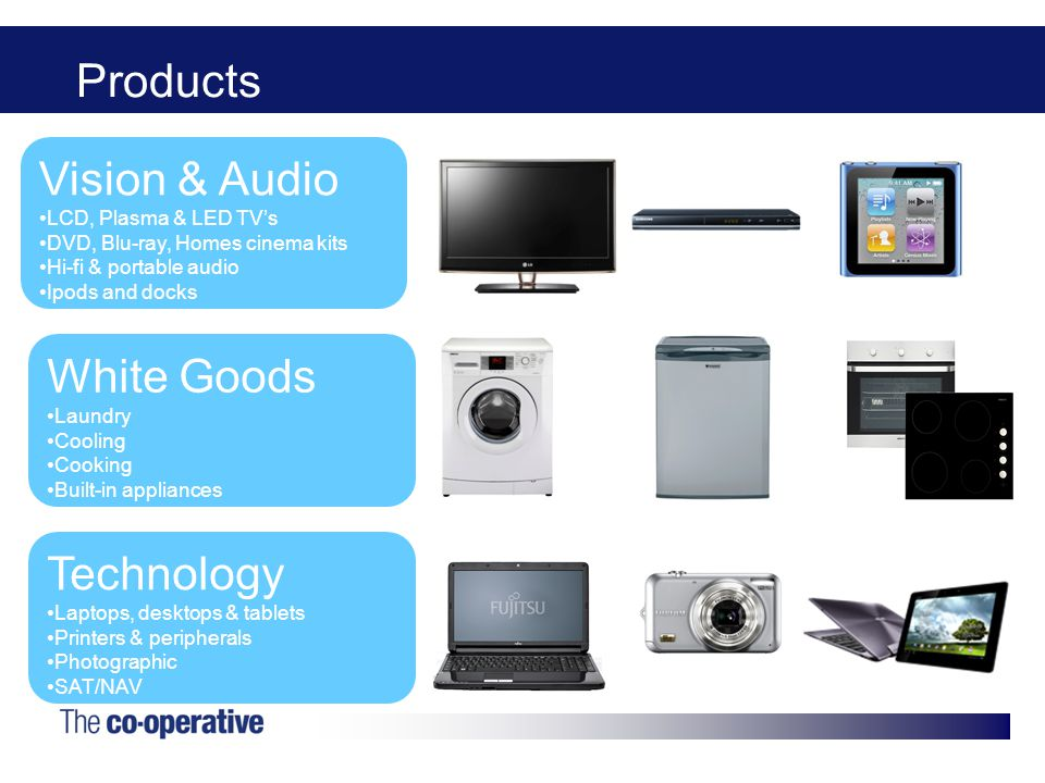 Products Vision & Audio LCD, Plasma & LED TV's DVD, Blu-ray, Homes cinema kits Hi-fi & portable audio Ipods and docks Technology Laptops, desktops & tablets Printers & peripherals Photographic SAT/NAV White Goods Laundry Cooling Cooking Built-in appliances