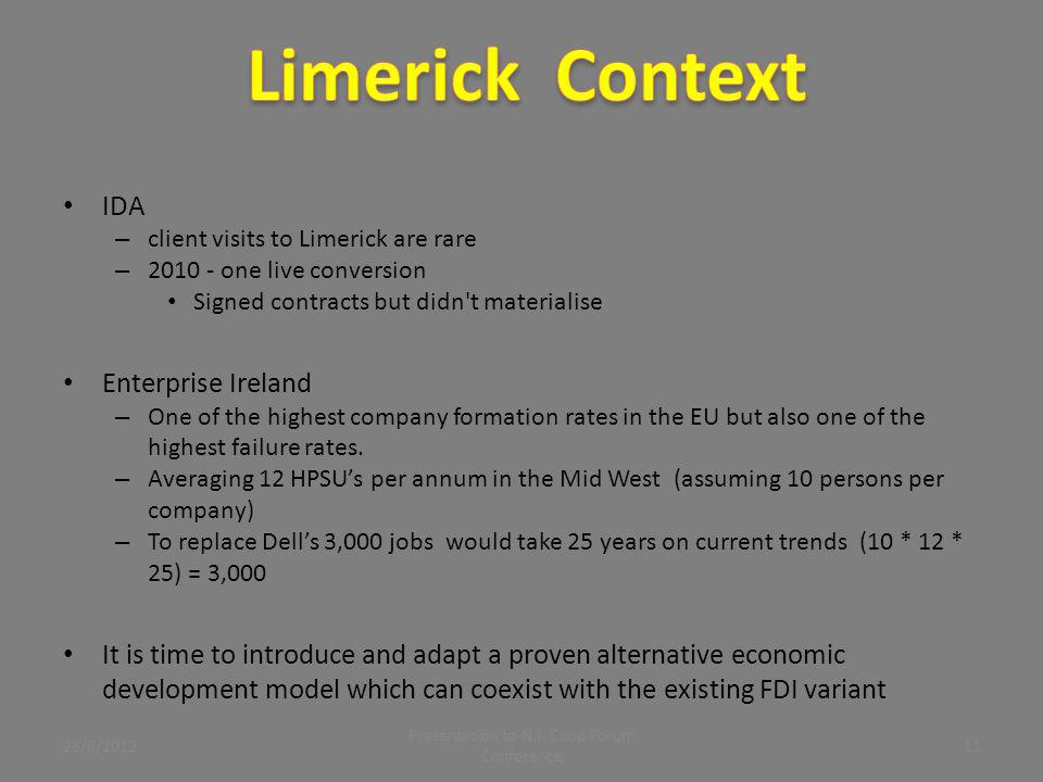 IDA – client visits to Limerick are rare – 2010 - one live conversion Signed contracts but didn't materialise Enterprise Ireland – One of the highest