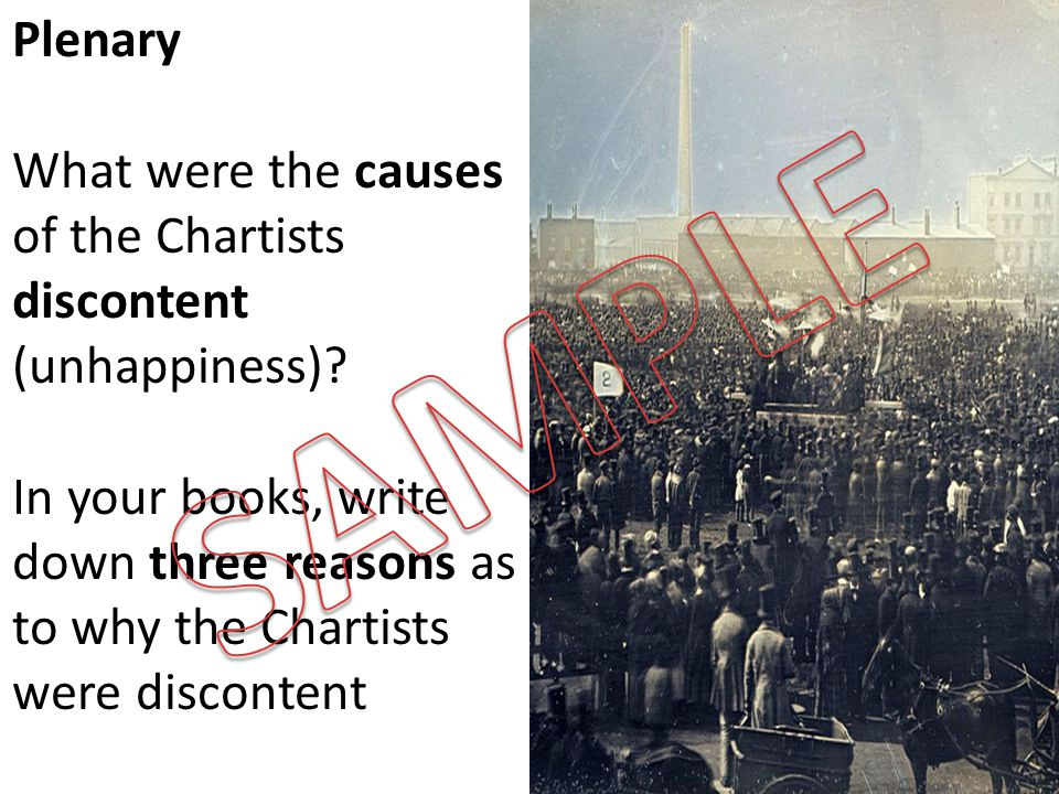 Plenary What were the causes of the Chartists discontent (unhappiness).