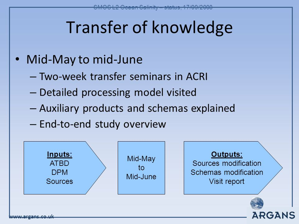 www.argans.co.uk SMOS L2 Ocean Salinity – status, 17/09/2008 Transfer of knowledge Mid-May to mid-June – Two-week transfer seminars in ACRI – Detailed processing model visited – Auxiliary products and schemas explained – End-to-end study overview Inputs: ATBD DPM Sources Outputs: Sources modification Schemas modification Visit report Mid-May to Mid-June