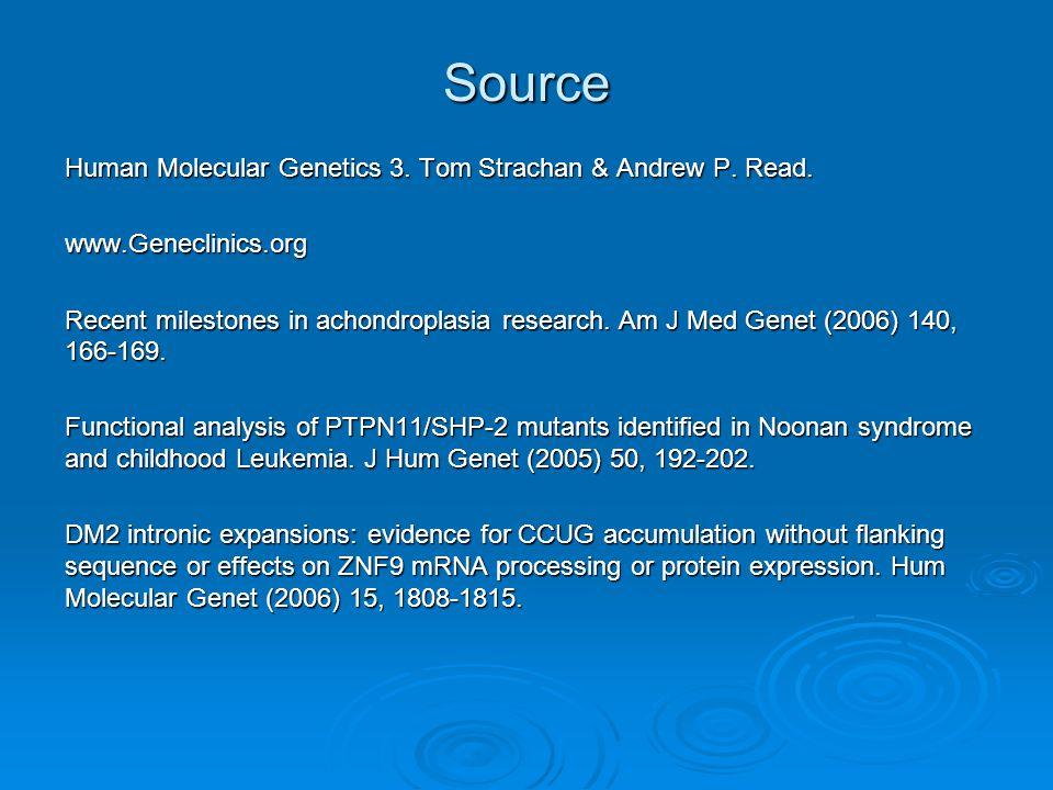 Source Human Molecular Genetics 3. Tom Strachan & Andrew P. Read. www.Geneclinics.org Recent milestones in achondroplasia research. Am J Med Genet (20