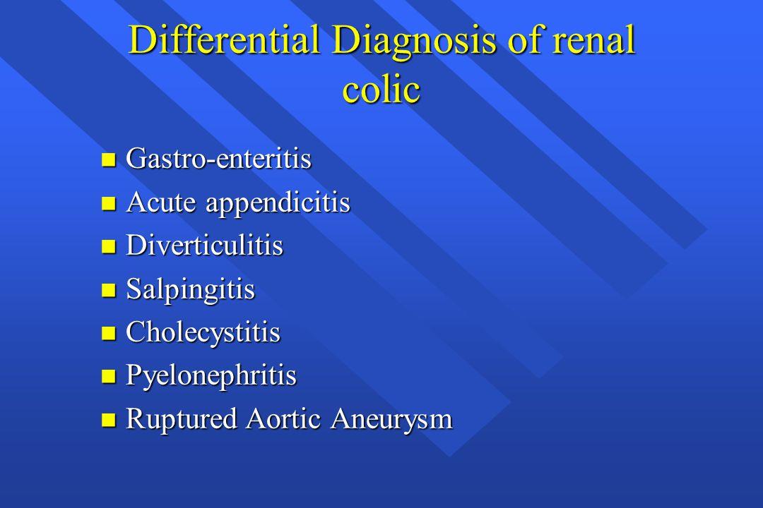 Differential Diagnosis of renal colic n Gastro-enteritis n Acute appendicitis n Diverticulitis n Salpingitis n Cholecystitis n Pyelonephritis n Ruptur