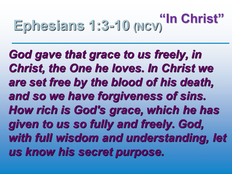 In Christ Ephesians 1:3-10 (NCV) This was what God wanted, and he planned to do it through Christ.