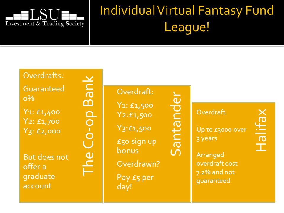 Individual Virtual Fantasy Fund League! Halifax Santander The Co-op Bank Overdrafts: Guaranteed 0% Y1: £1,400 Y2: £1,700 Y3: £2,000 But does not offer