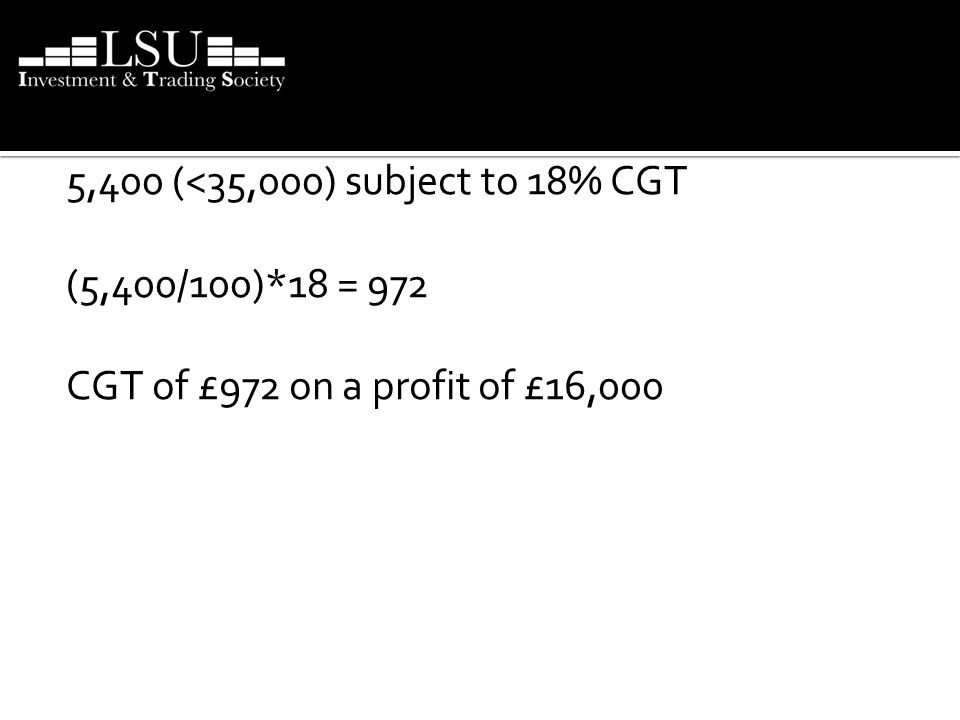 If this figure is still positive it is liable to CGT 5,400 (<35,000) subject to 18% CGT (5,400/100)*18 = 972 CGT of £972 on a profit of £16,000