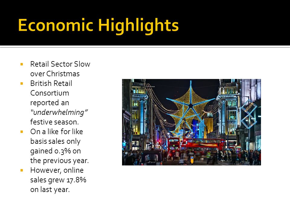 " Retail Sector Slow over Christmas  British Retail Consortium reported an ""underwhelming"" festive season.  On a like for like basis sales only gain"