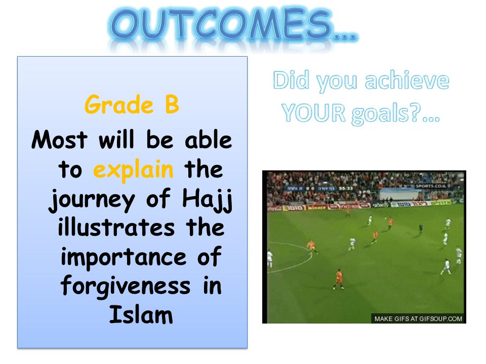 Grade B Most will be able to explain the journey of Hajj illustrates the importance of forgiveness in Islam Grade B Most will be able to explain the j